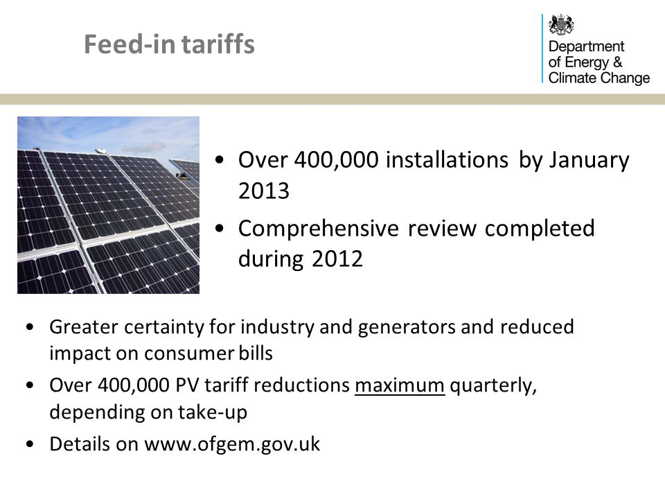 Feed-in tariffs Over 400,000 installations by January 2013