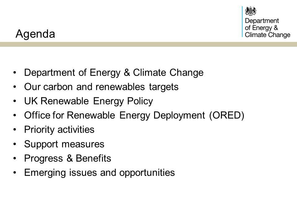 Agenda Department of Energy & Climate Change