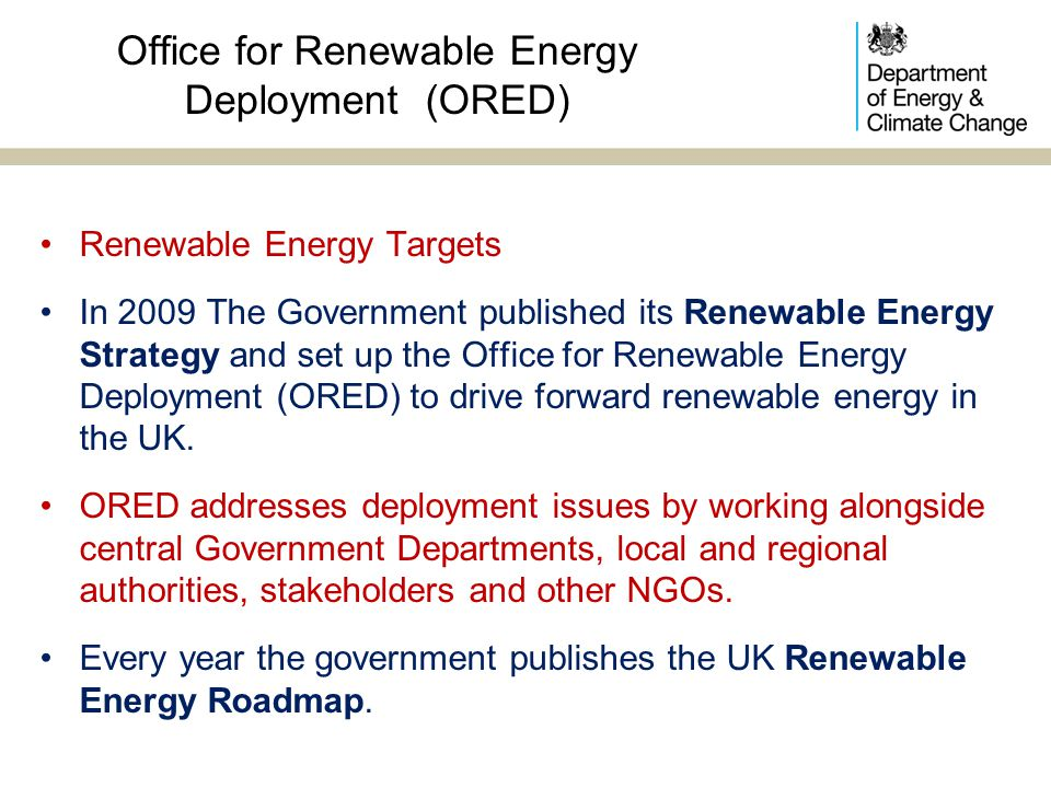 Office for Renewable Energy Deployment (ORED)