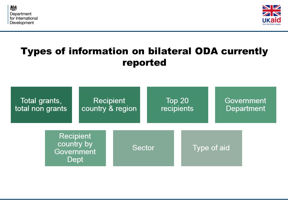 Types of information on bilateral ODA currently reported