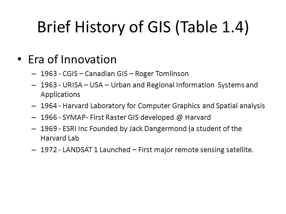 Brief History of GIS (Table 1.4)