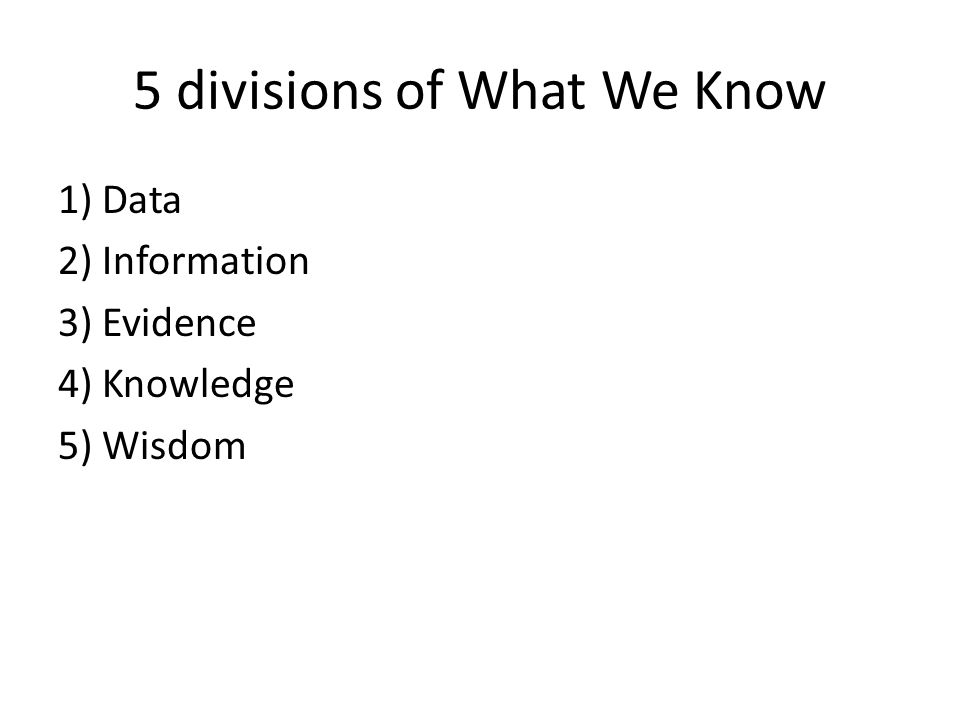 5 divisions of What We Know