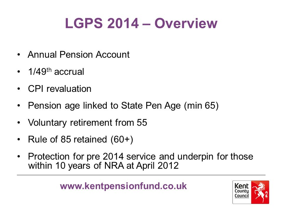 LGPS 2014 – Overview Annual Pension Account 1/49th accrual