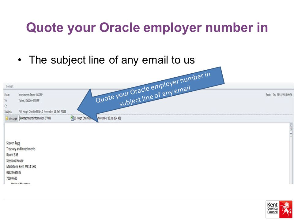 Quote your Oracle employer number in