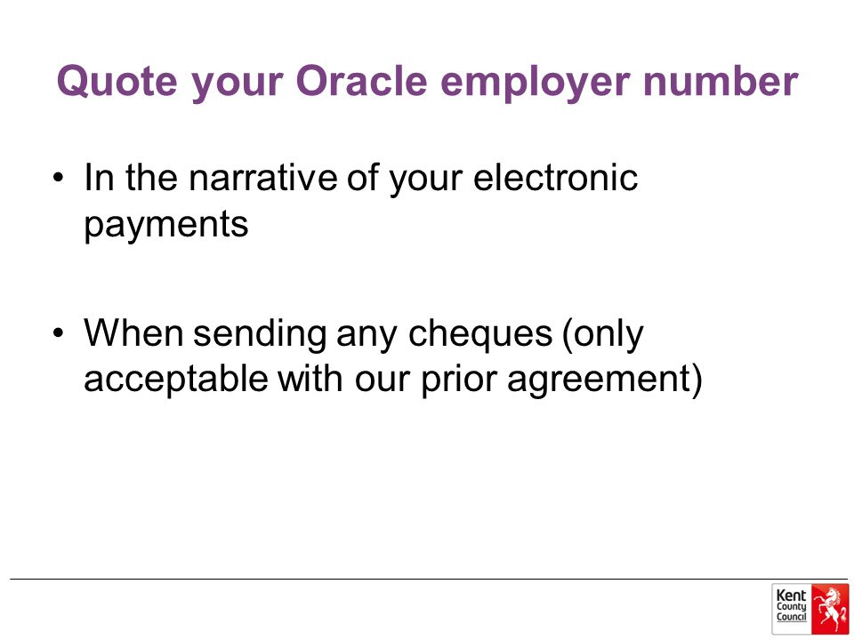 Quote your Oracle employer number