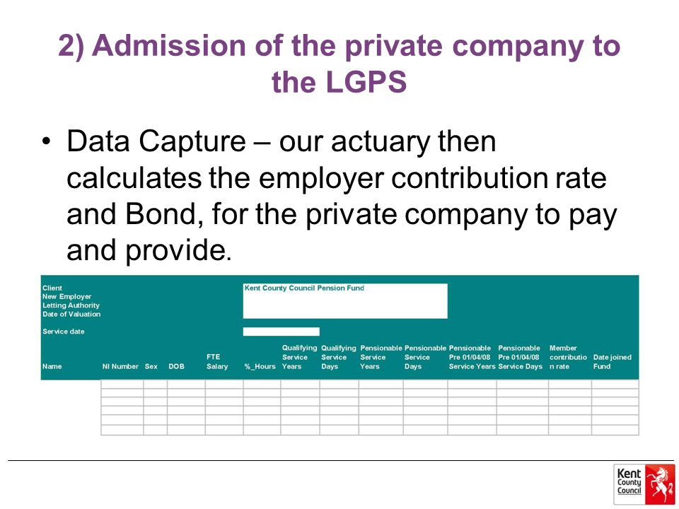 2) Admission of the private company to the LGPS