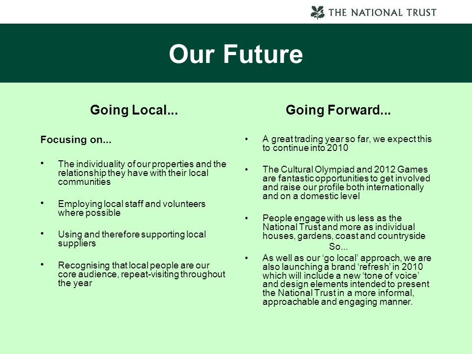 Our Future Going Local... Going Forward... Focusing on...