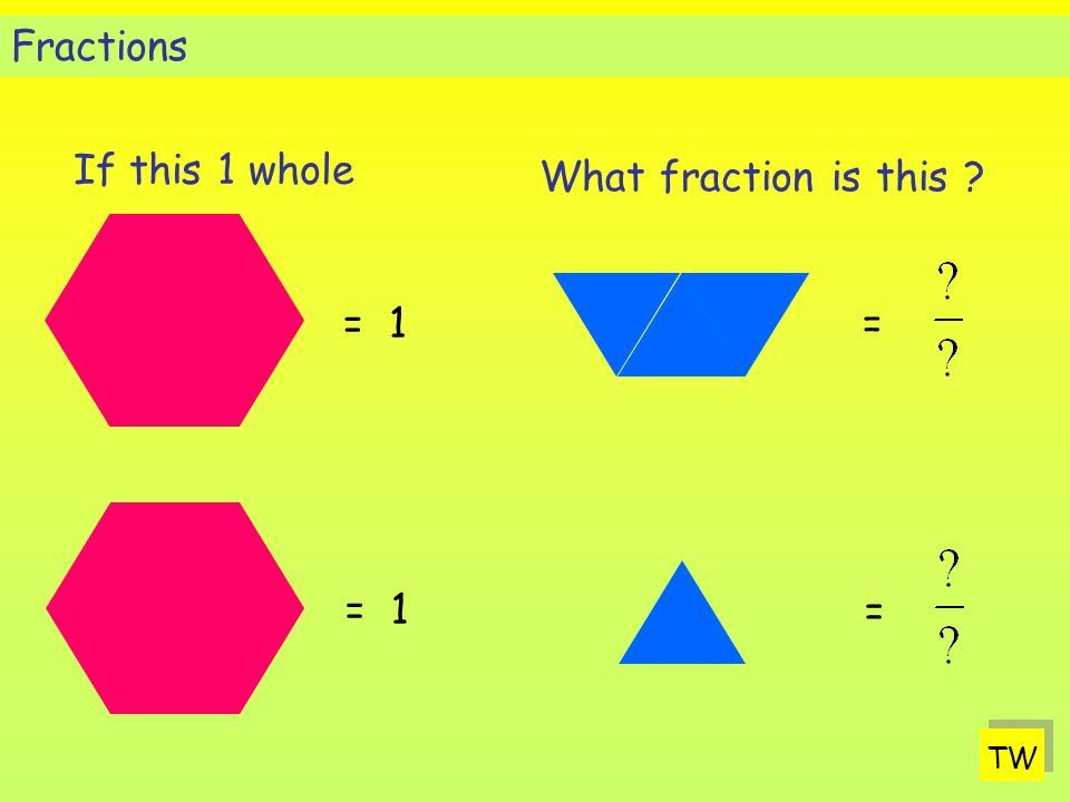 Fractions If this 1 whole What fraction is this = 1 = = 1 = TW