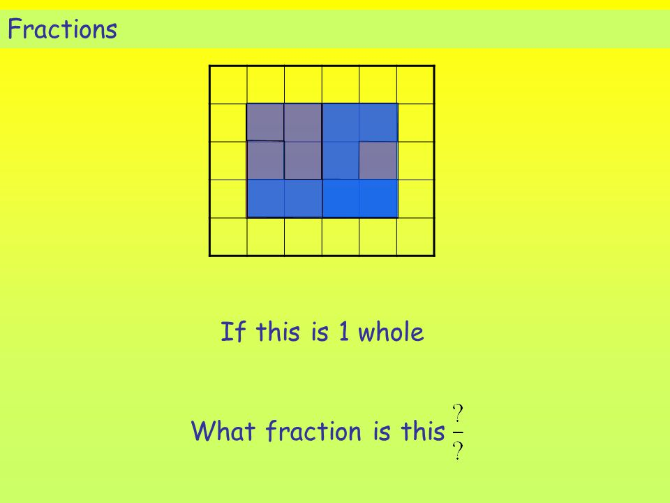 Fractions If this is 1 whole What fraction is this