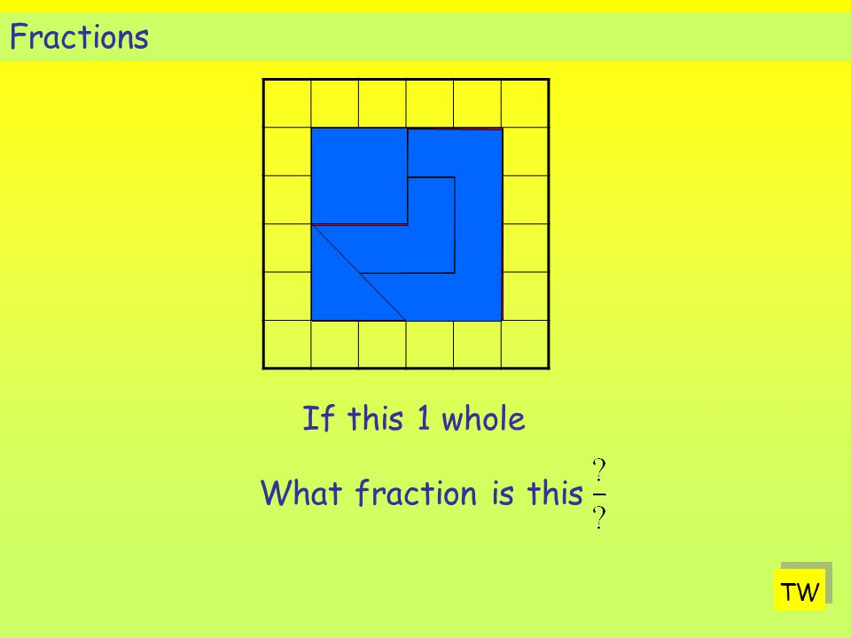 Fractions If this 1 whole What fraction is this TW