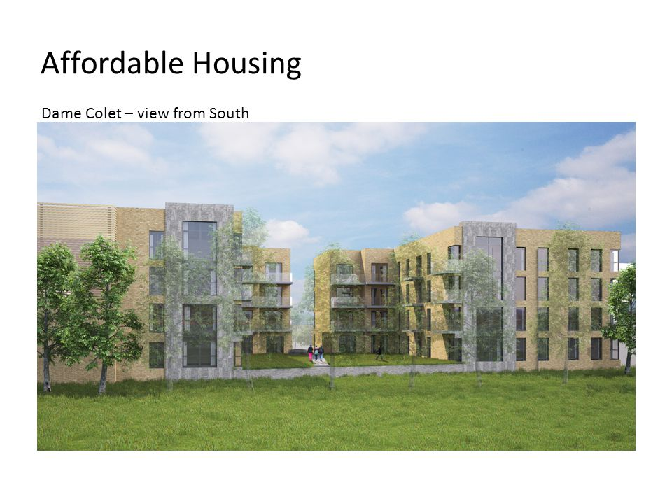 Affordable Housing Dame Colet – view from South