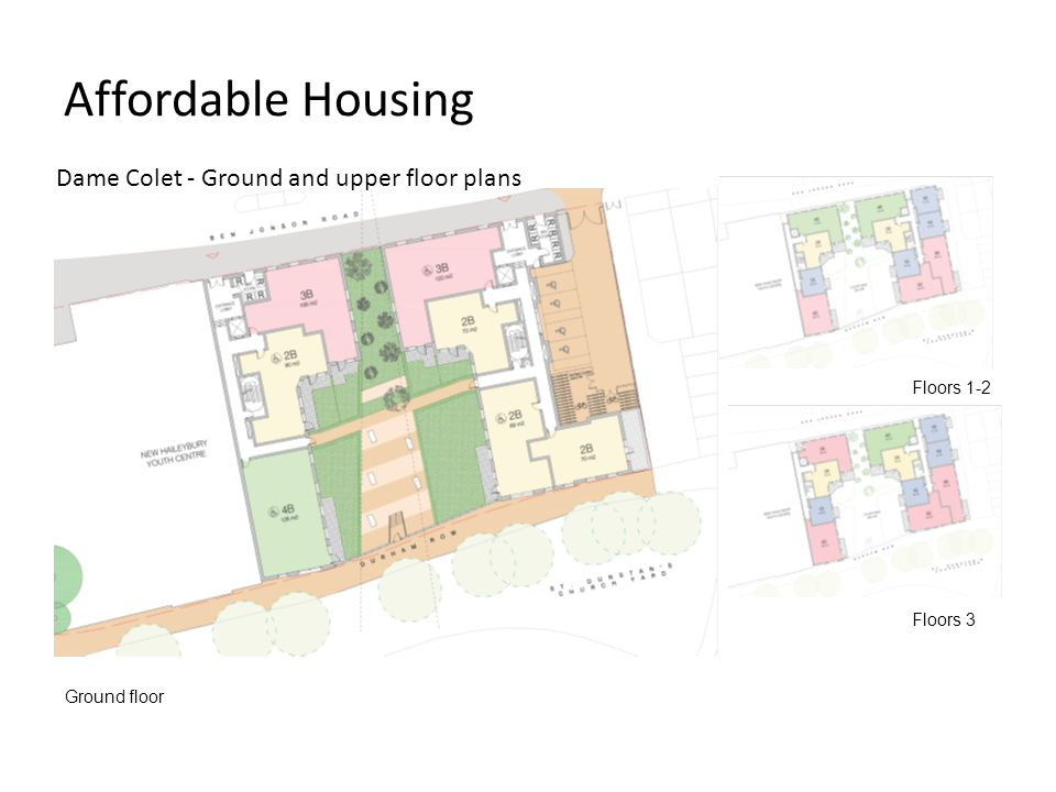 Affordable Housing Dame Colet - Ground and upper floor plans