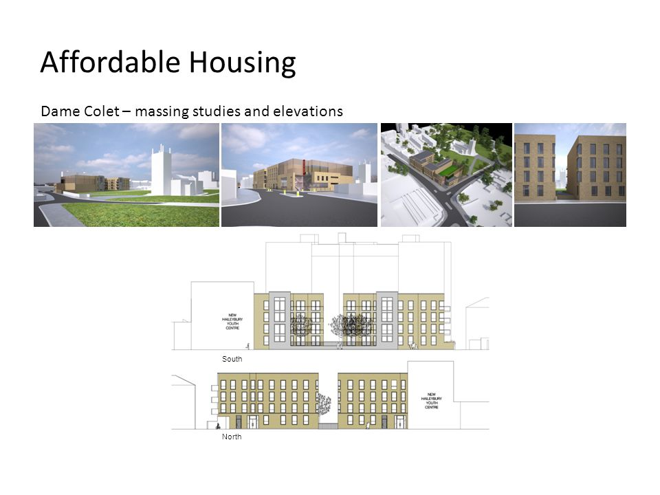 Affordable Housing Dame Colet – massing studies and elevations South
