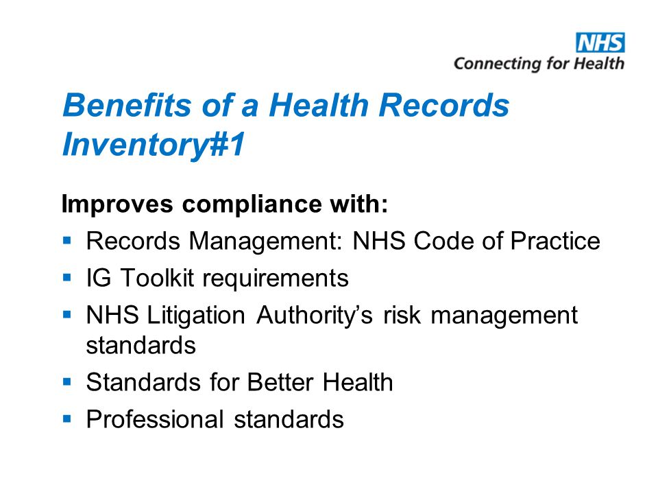 Benefits of a Health Records Inventory#1