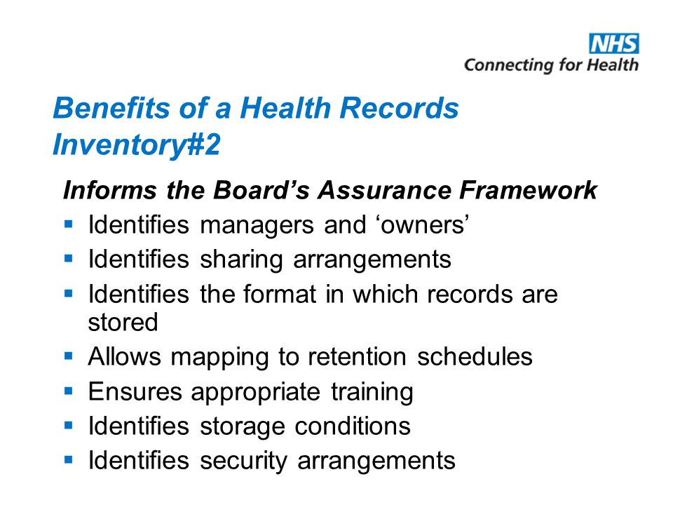 Benefits of a Health Records Inventory#2