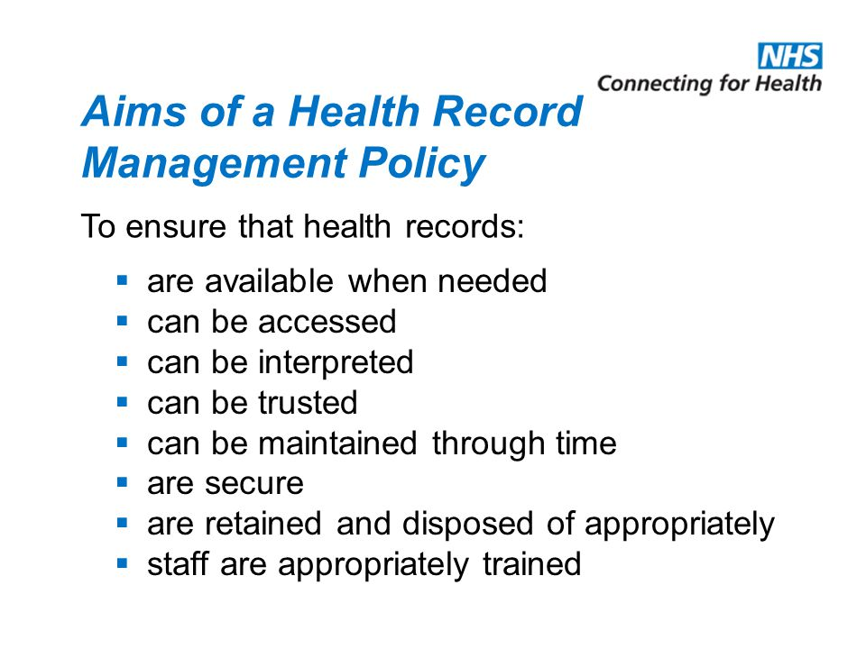 Aims of a Health Record Management Policy