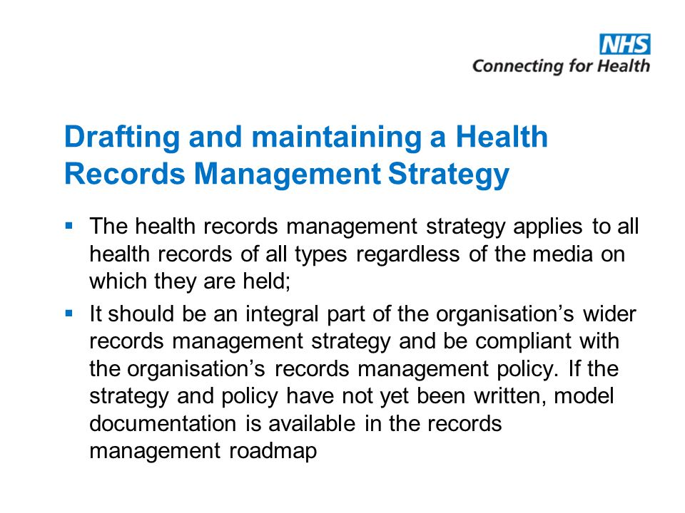 Drafting and maintaining a Health Records Management Strategy