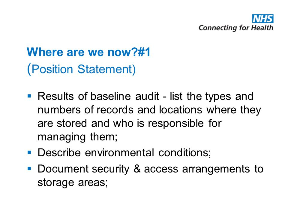 Where are we now #1 (Position Statement)
