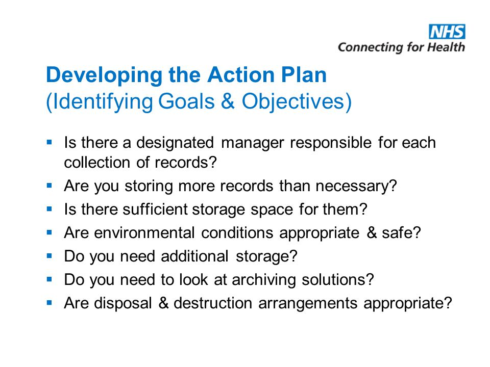Developing the Action Plan (Identifying Goals & Objectives)