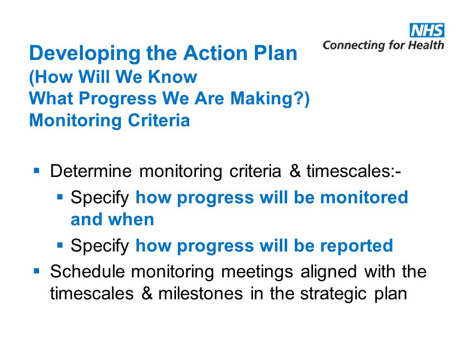 Developing the Action Plan (How Will We Know What Progress We Are Making ) Monitoring Criteria