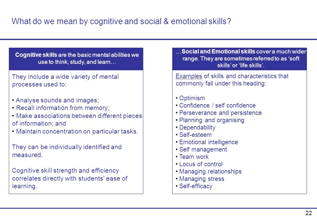 What do we mean by cognitive and social & emotional skills
