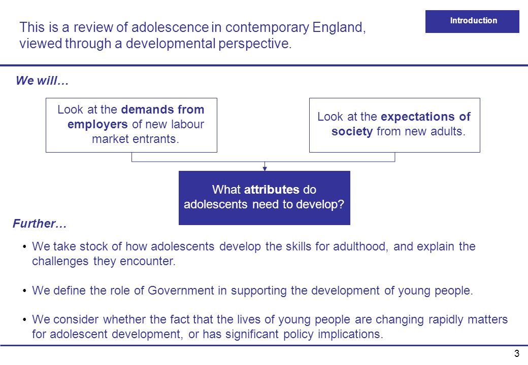 This is a review of adolescence in contemporary England, viewed through a developmental perspective.
