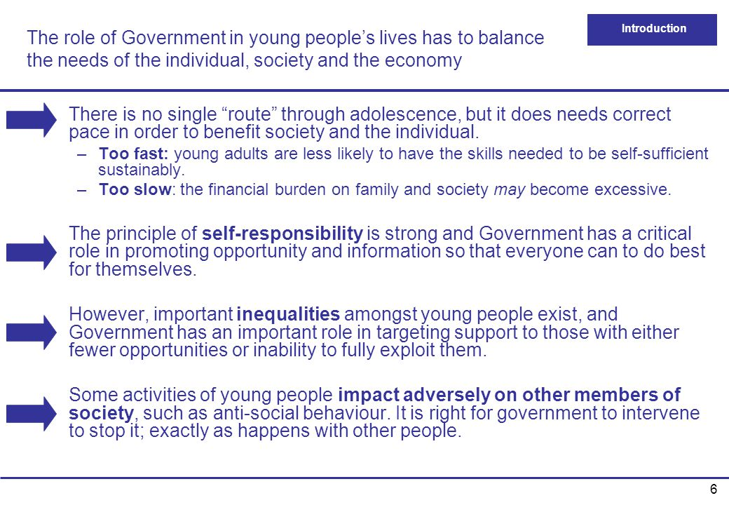 The role of Government in young people's lives has to balance the needs of the individual, society and the economy