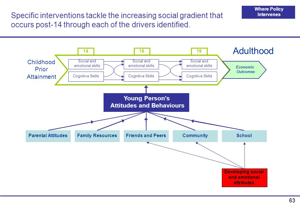 Specific interventions tackle the increasing social gradient that occurs post-14 through each of the drivers identified.