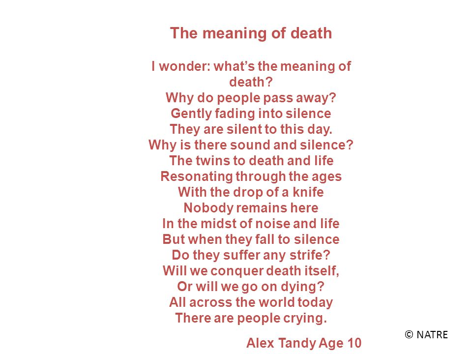 The meaning of death I wonder: what's the meaning of death