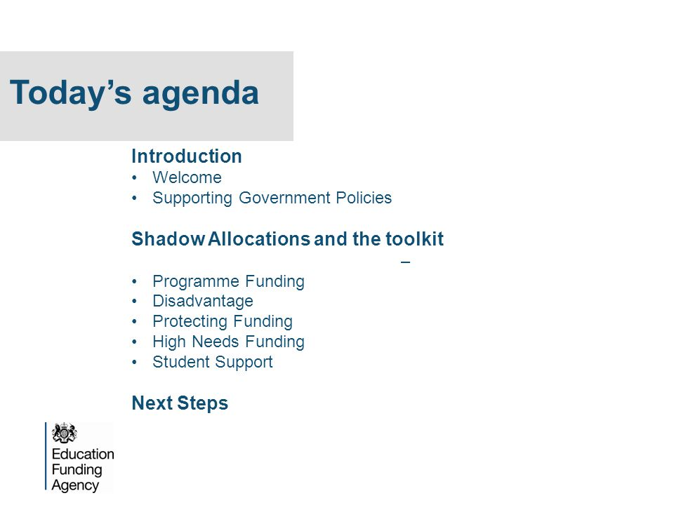 Today's agenda Introduction Shadow Allocations and the toolkit –