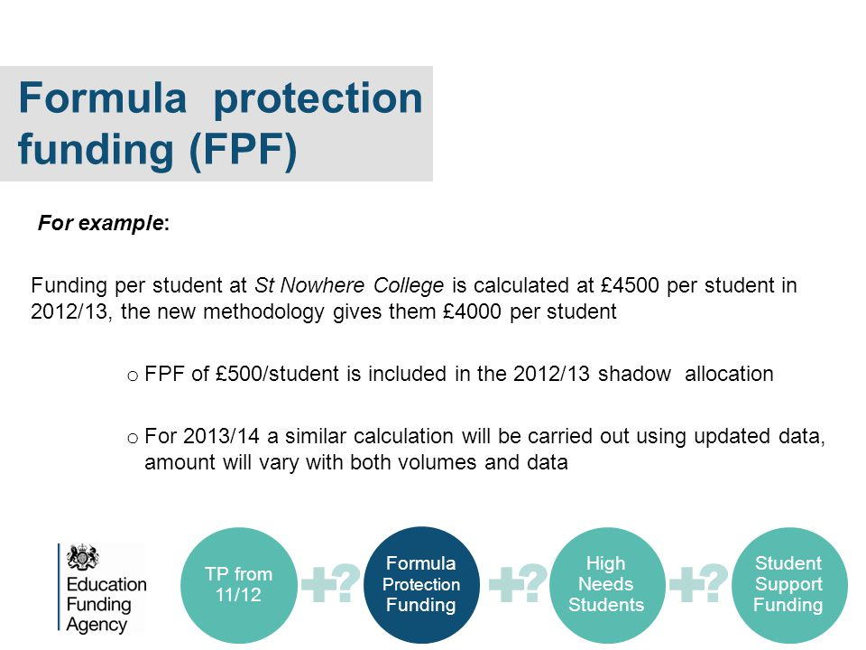 Formula protection funding (FPF) For example: