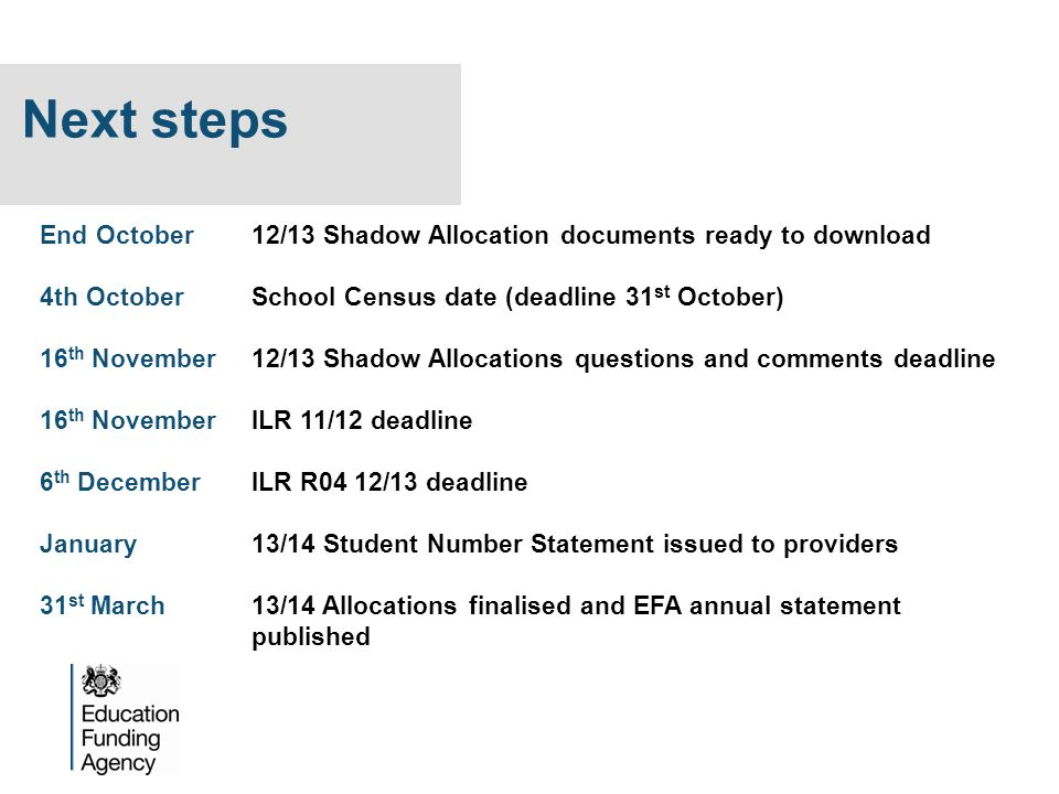Next steps End October 12/13 Shadow Allocation documents ready to download. 4th October School Census date (deadline 31st October)