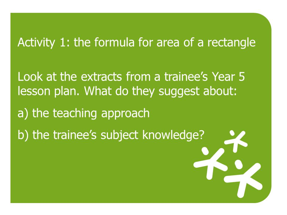 Activity 1: the formula for area of a rectangle
