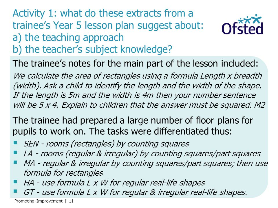 Activity 1: what do these extracts from a trainee's Year 5 lesson plan suggest about: a) the teaching approach b) the teacher's subject knowledge