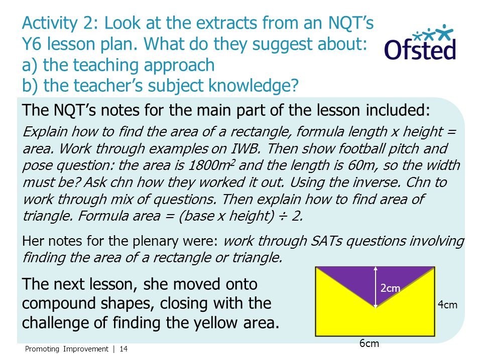 Activity 2: Look at the extracts from an NQT's Y6 lesson plan