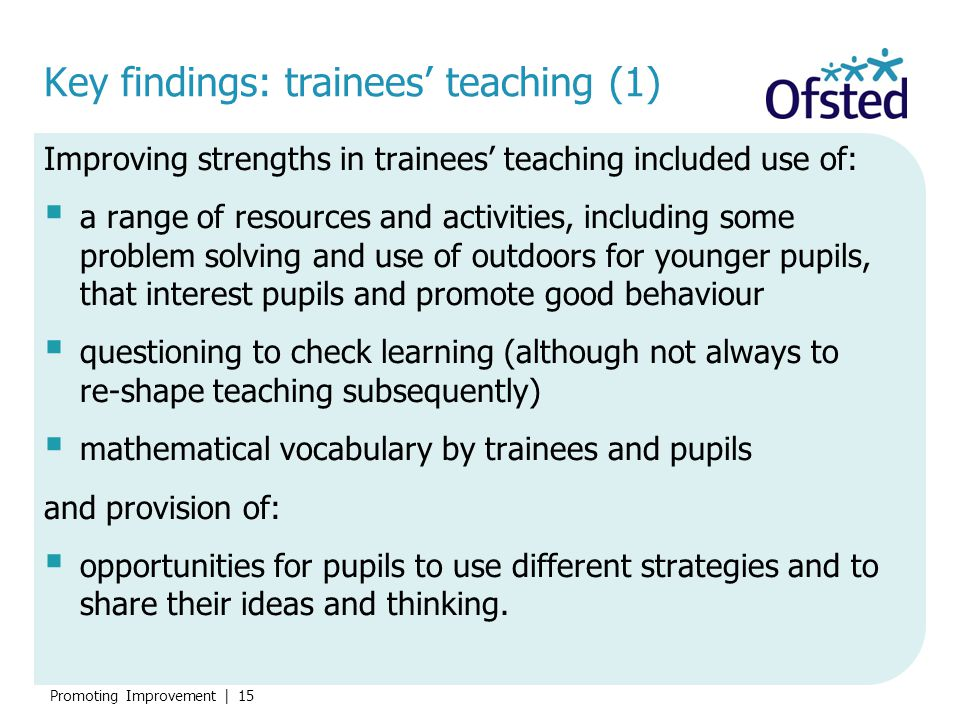 Key findings: trainees' teaching (1)
