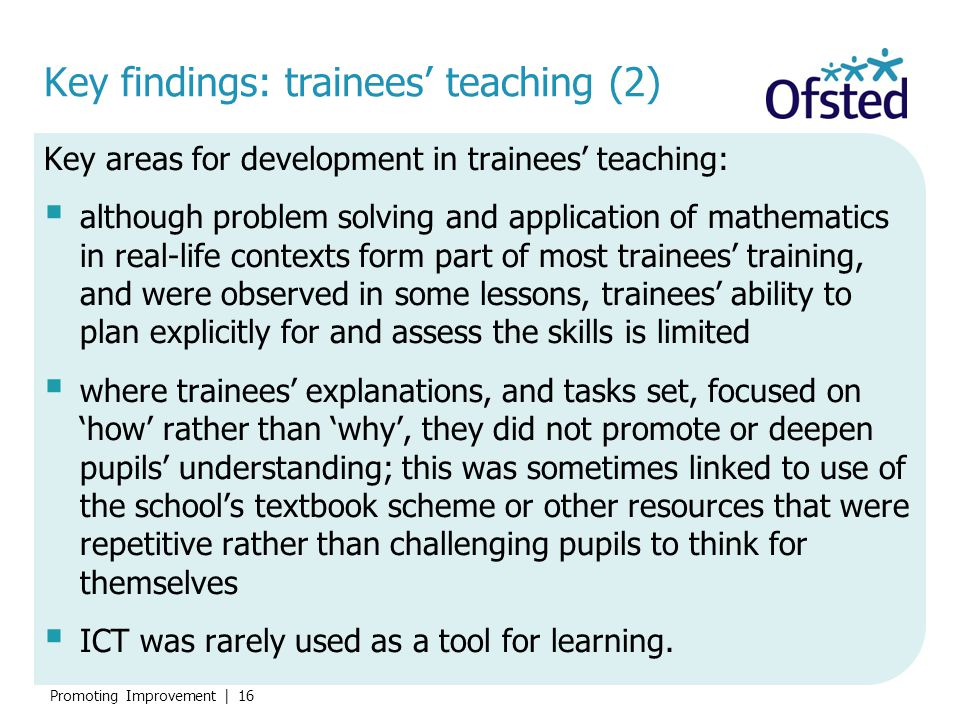 Key findings: trainees' teaching (2)