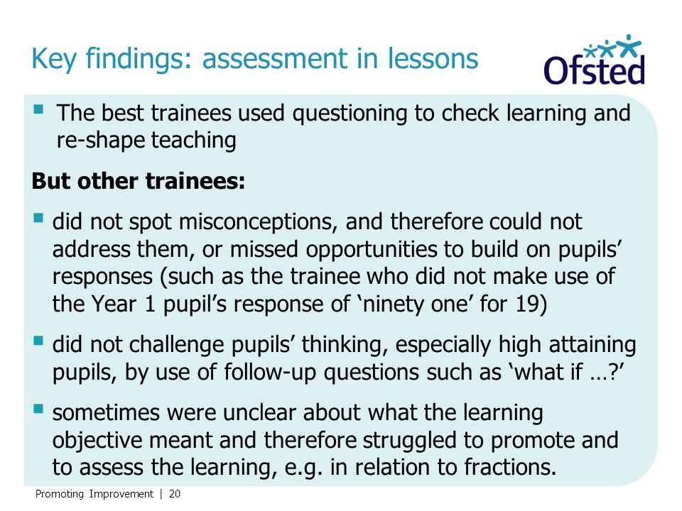 Key findings: assessment in lessons