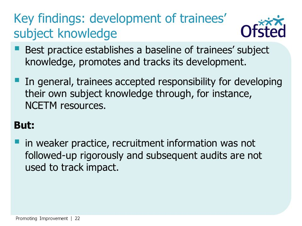 Key findings: development of trainees' subject knowledge