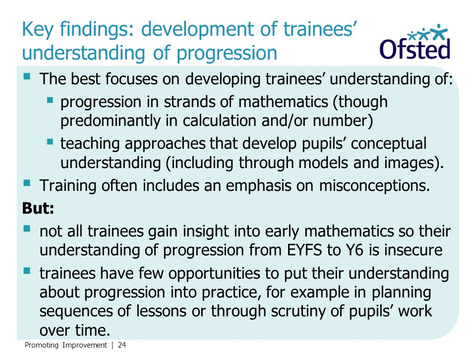 Key findings: development of trainees' understanding of progression