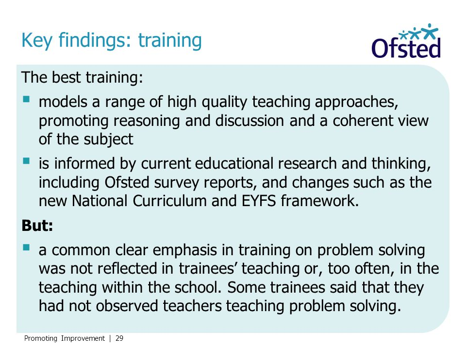 Key findings: training