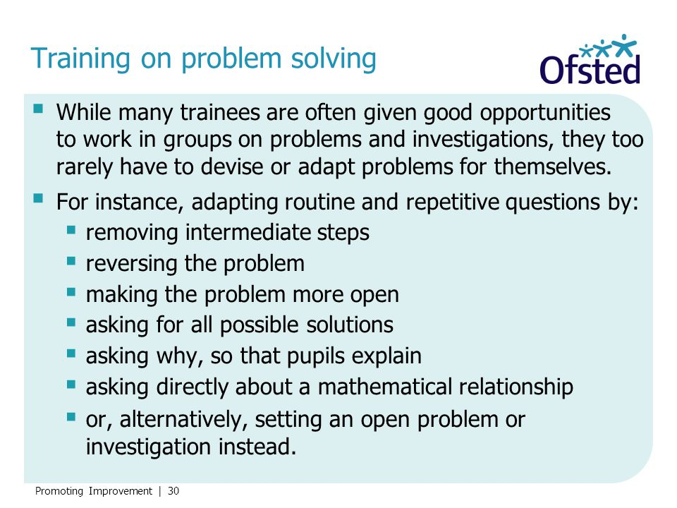 Training on problem solving