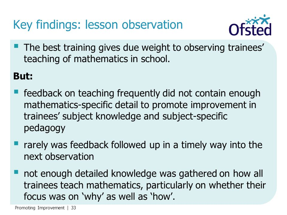 Key findings: lesson observation