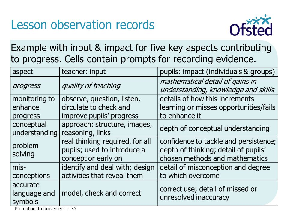 Lesson observation records
