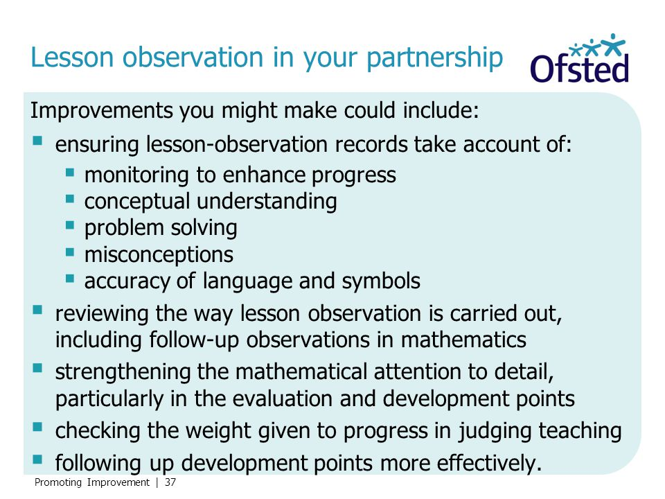Lesson observation in your partnership