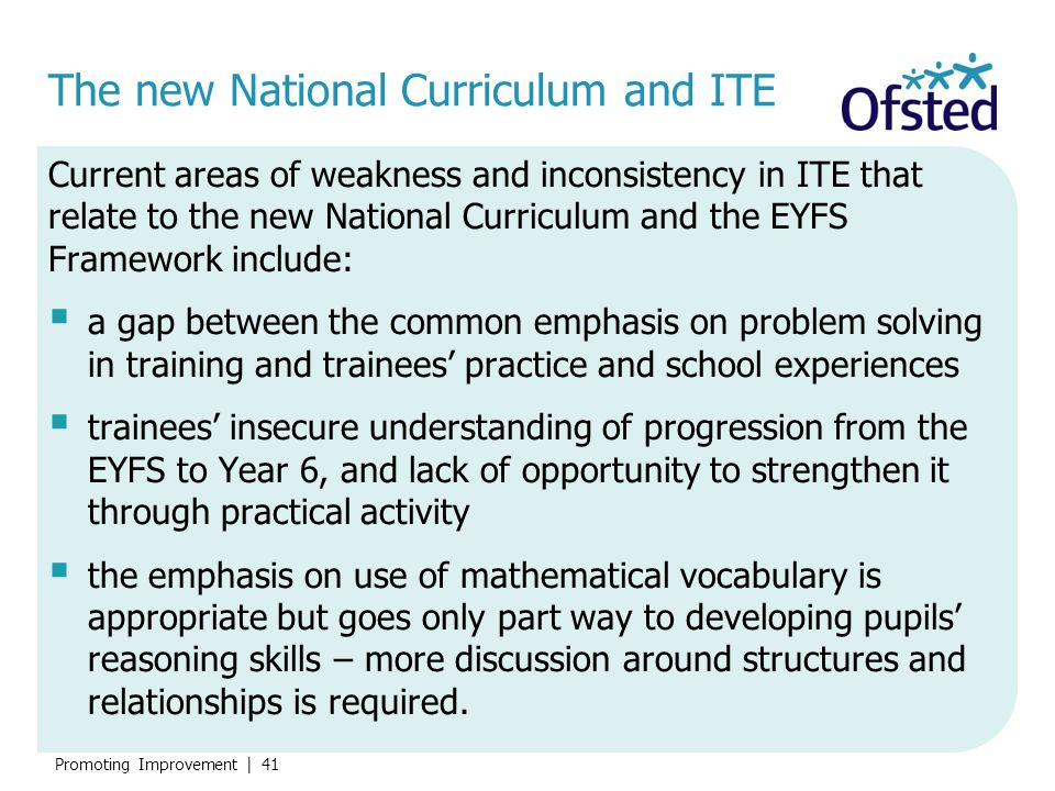 The new National Curriculum and ITE
