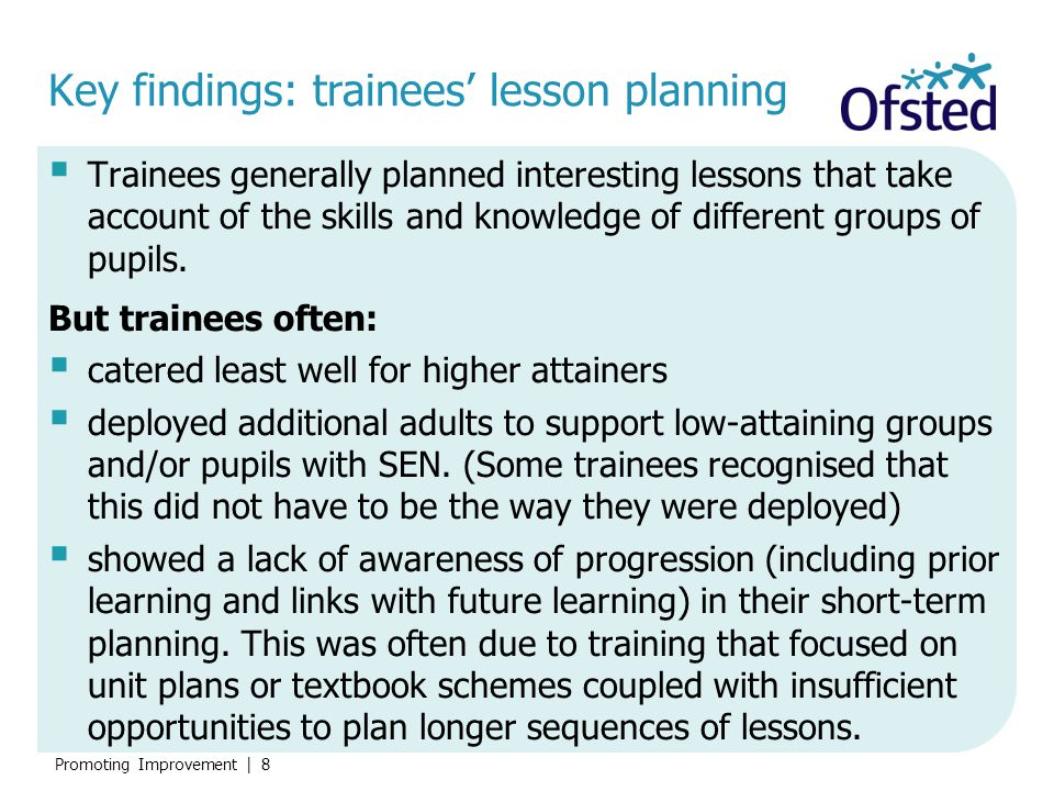 Key findings: trainees' lesson planning