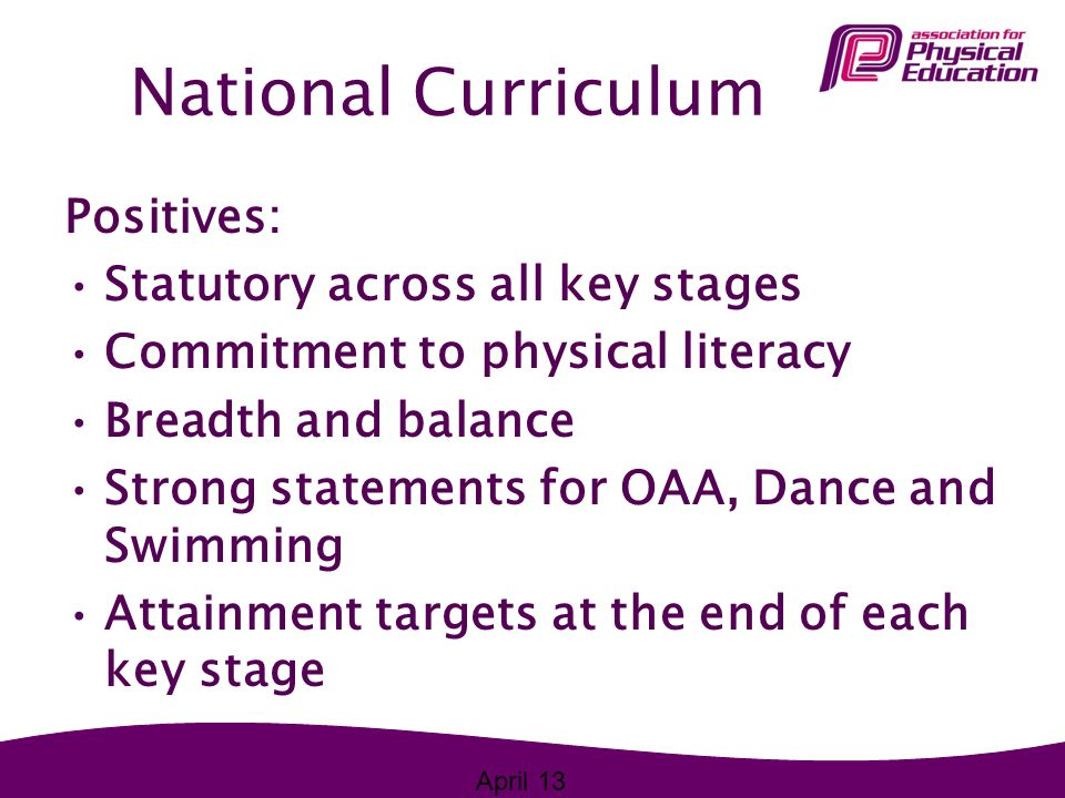 National Curriculum Positives: Statutory across all key stages