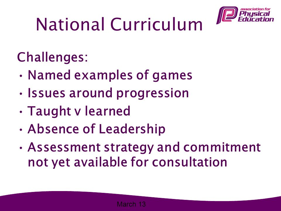 National Curriculum Challenges: Named examples of games