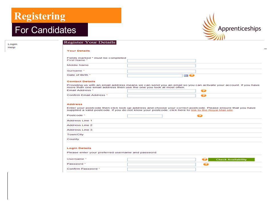 Registering For Candidates